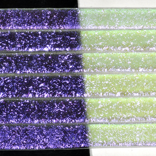 "1/4"" Violet Crinkle Dichroic on Clear Strips Effetre Glass"