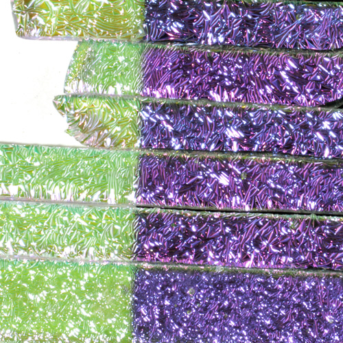 "Clear Magenta Blue CRINKLE Dichroic 1/4"" Strips"