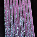 "1/4"" Sweet Pea Crinkle Dichroic on Clear Strips Effetre Glass"