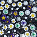 Black Mix 1 lb Millefiori Effetre Glass