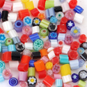 2-3mm 2oz Transparent Assorted Cut Millefiori Effetre Glass