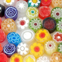 5-6mm 2oz Transparent Assorted Cut Millefiori Effetre Glass