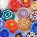 8-9mm 2oz Transparent Assorted Cut Millefiori Effetre Glass