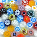 11-12mm 1 lb Transparent Assorted Cut Millefiori Effetre Glass