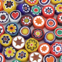 6-7mm 1 lb Opaque Assorted Cut Millefiori Effetre Glass
