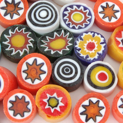 8-9mm 2oz Opaque Assorted Cut Millefiori Effetre Glass