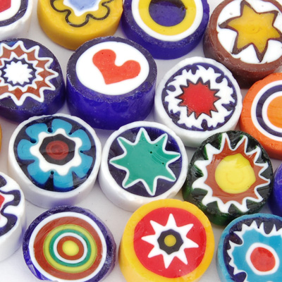 10-11mm 2oz Opaque Assorted Cut Millefiori Effetre Glass