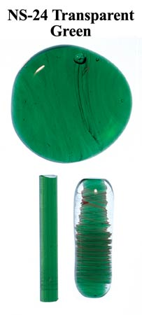 Green Transparent Borocolour Glass Rods