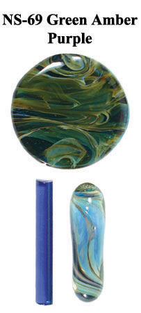 Green Amber Purple Boro Glass Frit, 4 oz