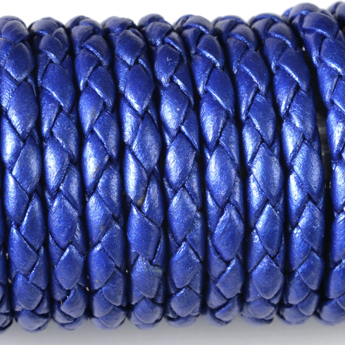 Metal Blue Leather Braided Bolo 3mm Diameter Length 50 Meter
