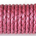 Dark Pink Leather Braided Bolo 3mm Diameter
