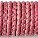 Pink + Raspberry Leather Braided Bolo 3mm Diameter Length 1 Meter